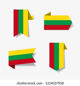 Lithuanian flag stickers and labels set. Vector illustration.