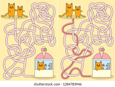 Litle cat wants ice cream maze for kids with a solution