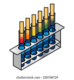 Litmus test. Six test tubes with different pH levels shown on litmus paper strips.