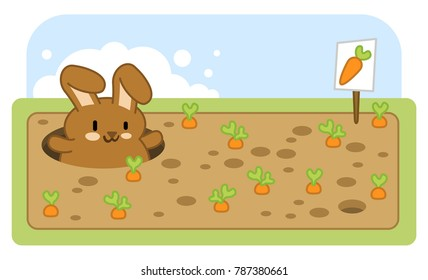Litte brown bunny looking out ouf rabbit hole on a carrot field (kawaii illustration)