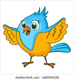 Littel Bird waving. Cute Young bird isolated on white background. Happy exotic bird cartoon character. Education card for kids learning animals. Logic Games for Kids. Vector in cartoon style.