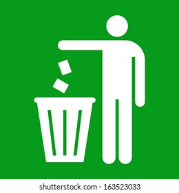 Litter sign on green background