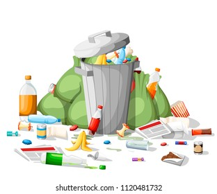 Littering garbage. Pile of garbage in flat style. Steel garbage bin full of trash. Green bags, food, paper, plastic. Vector illustration isolated on white background.