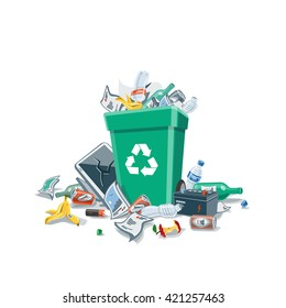 Littering waste that have been disposed improperly around the green plastic dust bin. Isolated vector illustration on white background. Garbage can is full. Trash is fallen on the ground.