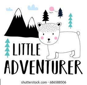 little adventurer bear illustration vector.