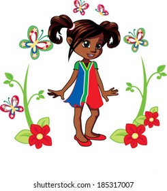 little african american girl with ponytails in a garden with butterflies