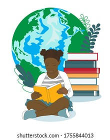 Little african american girl is reading a book, stack of books at planet Earth background.  Smart curious schoolchild want to know, to learn everything about the World around, nature, ecology. Vector