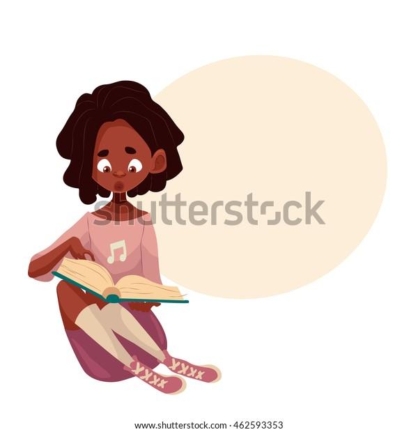 Image Vectorielle De Stock De Petite Fille Assise Et Lisant