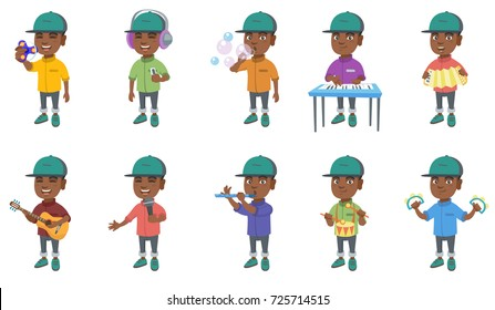 Little african-american boy set. Boy blowing soap bubbles, playing the piano, accordion, acoustic guitar, flute, drum, tambourine. Set of vector cartoon illustrations isolated on white background.