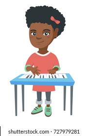 Little african-american girl playing the piano. Full length of smiling girl standing near the piano. Vector sketch cartoon illustration isolated on white background.