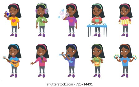 Little african-american girl set. Girl blowing soap bubbles, playing the piano, accordion, acoustic guitar, flute, drum, tambourine. Set of vector cartoon illustrations isolated on white background.