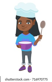 Little african-american girl wearing chef hat and holding a saucepan and a kitchen spoon. Smiling girl with a saucepan and a spoon. Vector sketch cartoon illustration isolated on white background.
