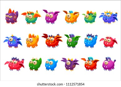Little Alien Monsters With And Without Wings Set