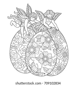 Little angel and easter eggs. Hand drawn sketch illustration for adult coloring book. Zentangle stylized cartoon isolated on white background.