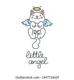 Little angel. Kawaii illustration of a flying cat with angel wings. Vector 8 EPS.