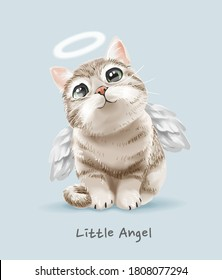 little angel slogan with cute angel cat illustration