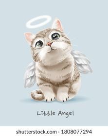 little angel slogan with cute angel cat illustration