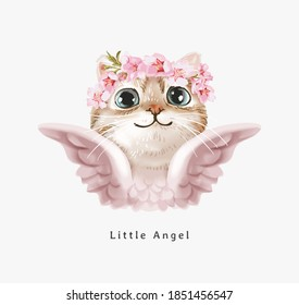 little angel slogan with cute angel cat in floral crown illustration