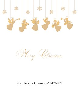 Little Angels with simple wings on a white background. Golden isolated angel silhouettes and snowflakes hanging on a cords. Merry Christmas text. Hand drawing vector.