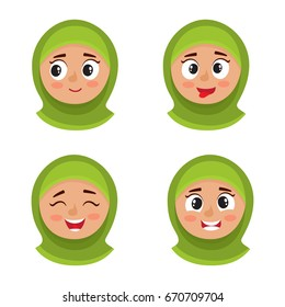 Little arab girl with hijab happy face expression, set of cartoon vector illustrations isolated on white background. Set of happy kid emotion face icons, facial expressions.