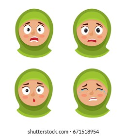 Little arab girl with hijab scared face expression, set of cartoon vector illustrations isolated on white background. Set of kid emotion face icons, facial expressions.