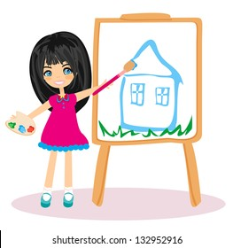 Little artist girl painting her dream house on large paper canvas