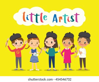 little artist, isolated kids children with painting tools cartoon character vector illustration