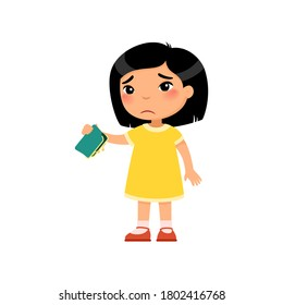 Little Asian girl with empty wallet in hand flat vector illustration. Upset poor child cartoon character. Poverty, unemployed person in need. Frustrated little kid isolated design element on white