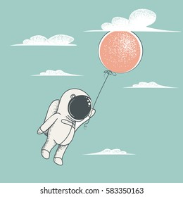 Little astronaut fly with red balloon to sky.Clouds around.Childish cartoon design for kid t-shirts,dress or greeting cards.Vintage style