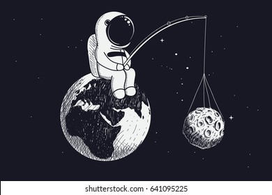 little astronaut sits on the Earth and keeps the moon by a fishing rod.Abstract vector illustration.Childish theme