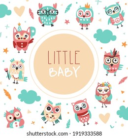 Little Baby Banner Template with Cute Colorful Hand Drawn Owlets Pattern, Cover, Poster, Invitation Card, Flyer Design with Funny Owls Vector Illustration