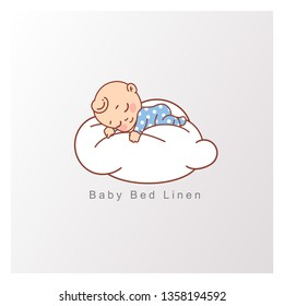 Little baby boy in blue pajamas  sleep peacefully on soft white cloud. Pillow and blanket for child. Template for logotype for healthy sleep, baby bed clothes, linen. Color vector illustration.