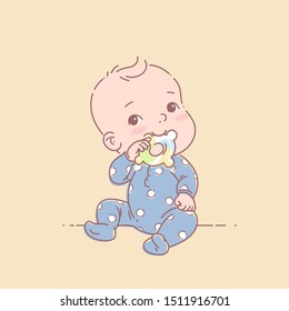 Little baby boy in blue pajamas sit, hold teething ring . Cute toddler child with toy  in mouth. Color vector illustration. Baby wear jumpsuit.  First year games. Baby hold teething toy.