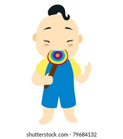 A little baby boy character eating a lollipop candy with the other hand pointing his thumb.