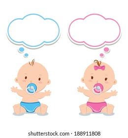 Little baby boy and baby girl. Adorable babies with pacifiers and thinking bubbles.