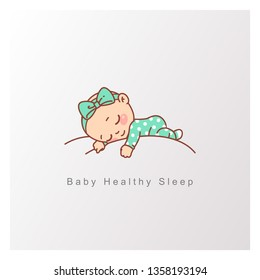 Little baby boy, girl sleep peacefully on soft white cloud. Pillow and blanket for child. Template for logotype for healthy sleep, baby bed clothes, linen. Color vector illustration.