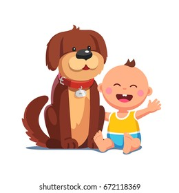 Little baby boy sitting together with big brown dog. Domestic pet in collar looking after happy toddler kid. Friendship, child care concept. Flat style vector illustration isolated on white background