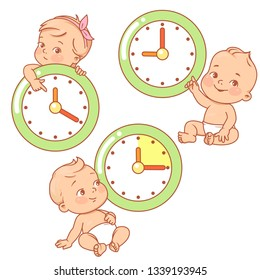 Little baby with clocks. Time for baby. Children sitting near big clock. Holding, pointing at clock face. Little boys and girls  watch time.  Child's day. Color vector illustration.