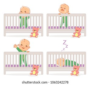 Little baby in crib. Baby boy stand in his bed.  kid with different emotions. Scared, curious, crying, happy child. Sleeping at night. Time before sleep. Vector illustration.