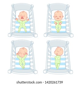 Little baby in crib. kid in bed with different emotions.  Cry, calm, smile, happy child. Sleep at night. Sleeping time, wake hours. Baby sleep problems. Set of vector illustration.