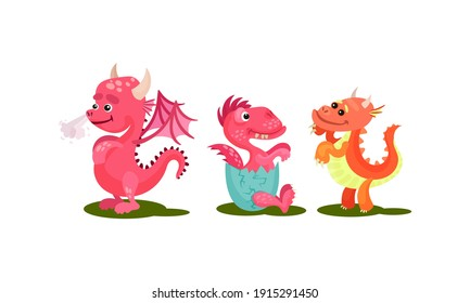 Little Baby Dragons as Fairy Winged Creatures Capable of Breathing Fire Vector Set