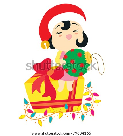 ad6c6c7424fe9 A little baby girl character smiling wearing a Santa hat and holding a big  Christmas ornament