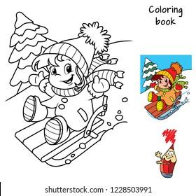 Little baby girl enjoying sleigh ride. Winter holiday. Coloring book. Cartoon vector illustration
