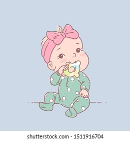 Little baby  girl in green pajamas sit, hold teething ring . Cute toddler child with toy  in mouth. Color vector illustration. Baby wear jumpsuit. First year games. Baby hold teething toy.