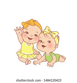 Little baby girls siting, lying on the stomach.  First year. Clothes for children. Baby fashion. Smiling toddler twin girls together. Sisters. Happy baby wave hand. Color vector illustration.