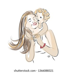 Little baby hugging his mother. Vector illustration of mother and child smiling together
