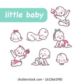 Little baby infants boys and girls characters sitting, playing with rattle, crawling, sleeping, smiling isolated on white background. Vector flat cartoon illustration.