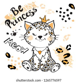 Little baby leopard and inscription be princess on a white background