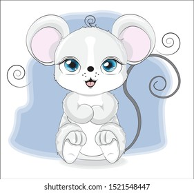 little baby mouse, sits against the background of the blue sky. The picture in hand drawing style. Mouse, symbol of New year 2020