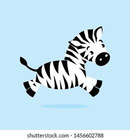 Little Baby Zebra - Funny Jumping Character Logo Design Vector for Childern, Kids, Education, other
